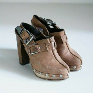 Top Shop Premium Leather Distressed Sling Back Clo